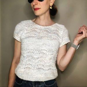 Vintage 80s marled pastel pointelle knit sweater